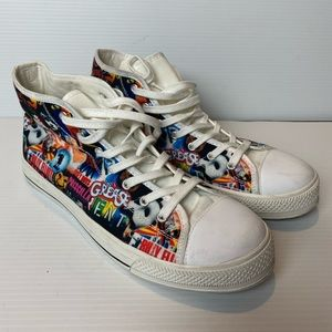 Broadway theme lace up canvas sneakers men's 7.5